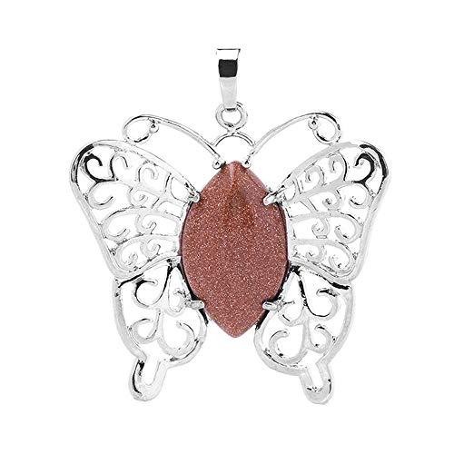 Pendant Elegant Women Necklace Butterfly Shape Chakra Crystals Healing Stone 4.9X4.4CM,Colour:Rose Quartz (Color : Goldstone)