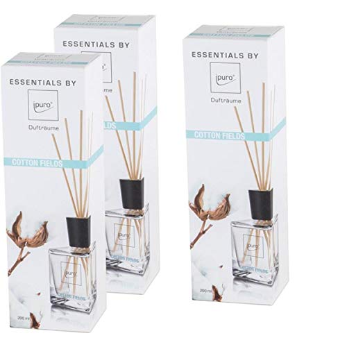 Essentials by Ipuro Cotton Fields Lot de 3 parfums 200 ml