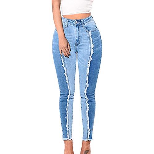 UOWEG Jeans Damen Sky Blue Jeans Slim Leggings Fitness Plus Size Leggins Länge Jeans Damen Large Size Imitation Jeans Lässige Print Hose...