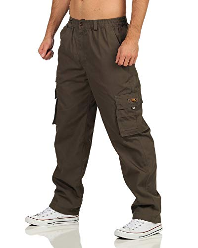 ZARMEXX Herren Thermohose Freizeithose mit Dehnbund Cargohose Winter warm gefütterte Arbeitshose Outdoor Workwear (Armee, L)