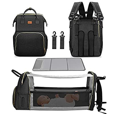 4 in 1 Diaper Bag with Bassinet Changing Station– Multi Purpose Waterproof Convertible Organizer Diapering Bag with Changing Pad Mommy Backpack Large Capacity with Sunshade (Black) by Yacul