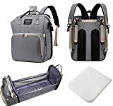 Multifunction Diaper Bag Backpack with Foldable Bassinet, Waterproof, Large Capacity for Travel