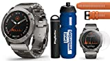 Garmin Fenix 6X Pro Solar (DLC with Titanium Band) Premium Bundle | Includes Garmin Water Bottle, Extra QuickFit Band, HD Screen Protectors & PlayBetter Charger | PulseOx, PacePro & Music