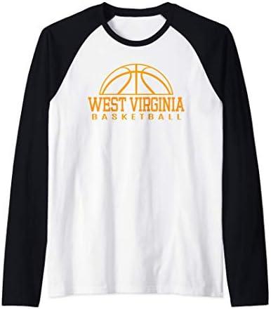 West Virginia Basketball Player W Va Team Mountaineer State Raglan Baseball Tee product image