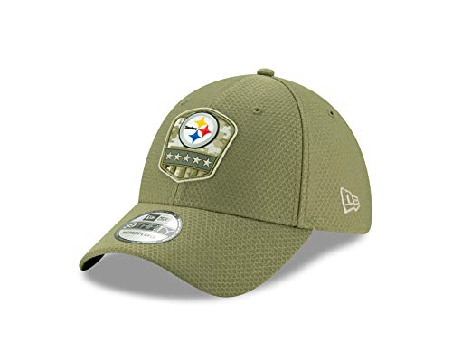 New Era Pittsburgh Steelers 39thirty Stretch Cap On Field 2019 Salute to Service Olive - M - L
