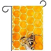 ウェルカムフラワーリースガーデンフラッグヤード両面蜂蜜櫛の上の黄黄海 パティオ芝生の家の屋外の装飾の春のための庭の花の旗