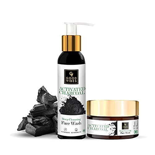Good Vibes Deep Cleansing Combo Kit (Activated Charcoal Face Wash 120ml + Activated Charcoal Face Mask 100g)