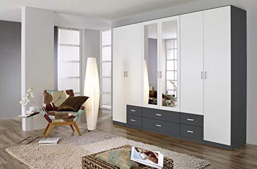 Rauch Möbel Gamma Schrank Drehtürenschrank Kleiderschrank in Grau Metallic und Weiß mit Spiegel 6-türig, inklusive Zubehörpaket Basic 3 Kleiderstangen, 3 Einlegeböden BxHxT 271 x 210 x 54 cm