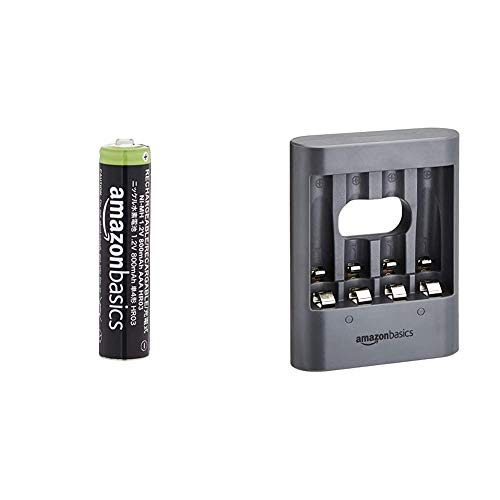 Amazon Basics AAA Rechargeable Batteries (16-Pack) 800mAh Pre-charged & Overnight USB Charger - Black