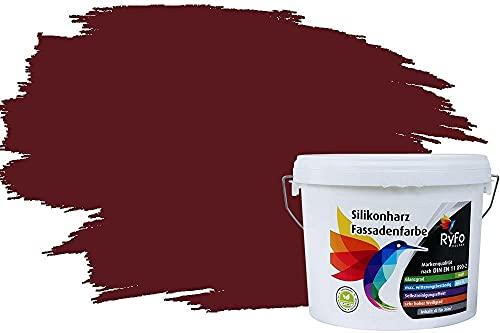 RyFo Colors Silikonharz Fassadenfarbe Lotuseffekt Trend Weinrot 6l - bunte Fassadenfarbe, weitere Rot Farbtöne und Größen erhältlich, Deckkraft Klasse 1