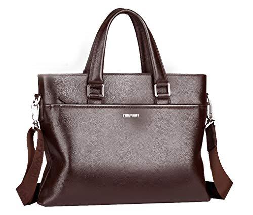 Men's Leather Messenger Bag, 15.6 Inches Laptop Briefcase Business Satchel Computer Handbag Shoulder Bag for Men