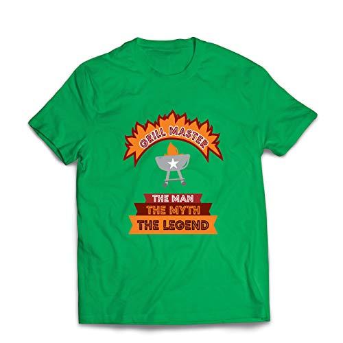 lepni.me Camisetas Hombre Maestro de la Parrilla, Chef de la Barbacoa, Divertidas Ideas de Regalos para barbacoas. (Small Verde Multicolor)