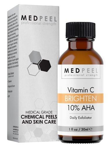 Medpeel AHA 10% vitamina C al día Exfoliante, mejorar y mantener la exfoliación química Resultados para todo tipo de piel 1 oz / 30ml