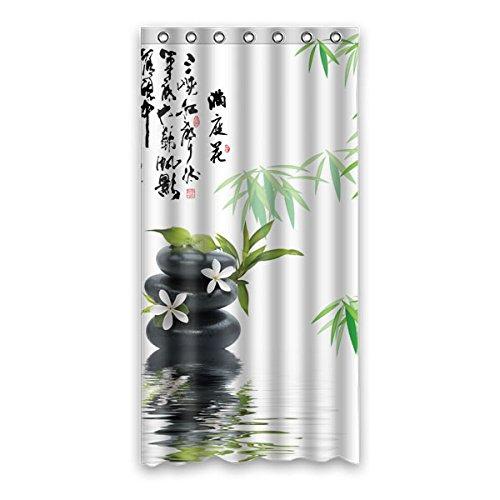 Retro Stil grün Bambus mühelosmuster design Polyester Fabrics wasserabweisend Generic Duschvorhänge,90 cm x183 cm (36