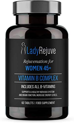 LadyRejuve Vitamin B Complex | 60 Tablets | Multivitamins and Health Supplements for Women | High Strength Tablets Increases Energy & Supports Immune System | Vitamin B1, B2, B3, B5, B6, B8, B9 & B12