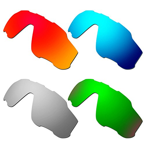 HKUCO Mens Replacement Lenses For Oakley Jawbreaker Red/Blue/Titanium/Emerald Green Sunglasses