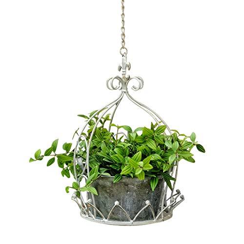 TentHome Blumentopf Hängend Metall Pflanzgefäß Hängetopf für Pflanzen Aufhänger Halter Regal Hängepflanztopf Hängeblumentopf für Garten Balkon, Innen- und Außen (Weiß)