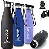 Noobs® Trinkflasche Edelstahl 500ml (blau) - mit praktischem OneClick-OneSip Trinkdeckel -...