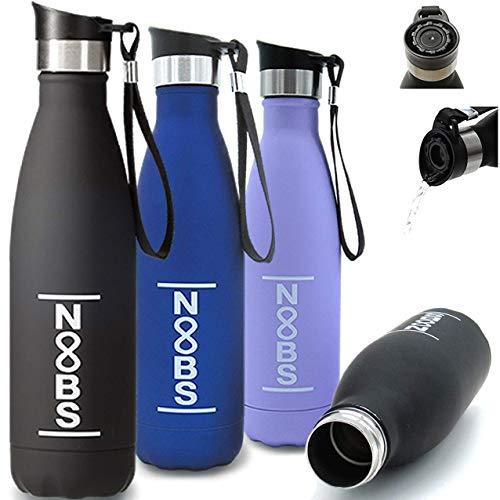 Noobs® Trinkflasche Edelstahl 500ml (schwarz) - mit praktischem OneClick-OneSip Trinkdeckel - auslaufsichere & BPA freie Thermosflasche - ideal auf dem Fahrrad, beim Sport und für unterwegs