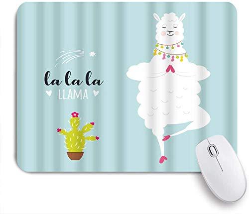MUYIXUAN Alfombrilla Raton Llama Cactus Yoga Cute Fluffy Animal Cartoon Tassel Namaste Alfombrilla Gaming Alfombrilla para computadora con Base de Goma Antideslizante,240×200×3mm