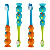 Trueocity Kids Toothbrush 4 Pack - Soft Contoured Bristles - Child Sized Brush Heads (3-10 year old) - Suction Cup for Fun & Easy Storage - Boy Set (Blue, Green, Orange, Yellow)