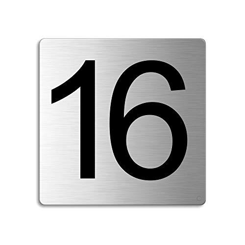 Plaque Numéro de porte 16 | 85x85 mm autocollant | acier inox brossé Nr.48316