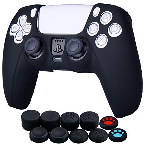 YoRHa Silicona Funda Piel Carcasas Cubierta para Sony PS5 Dualsense Mando x 1 (Negro) con Agarres para el Pulgar x 10