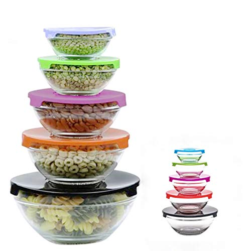 ADEPTNA Multi-Colour 5pcs Glass Food Storage Bowls with Lids - Stackable Glass Bowls Set - Ideal for Storing Food