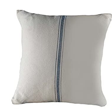 Home Collections by Raghu 18x18 Grain Sack Stripe Pillow Cover, Colonial Blue and Cream