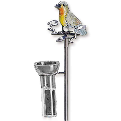 Regenmesser Vogel bunt Metall/Gartenstecker Gartendeko
