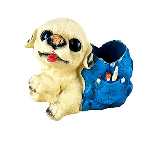 [クイーンビー] ミニチュア 犬 ペンスタンド ペン 立て かわいい おしゃれ 小さい 卓上 収納 ケース インテリア デスク アクセサリー 文具 文房具 鉛筆 事務用品 プレゼント (C)