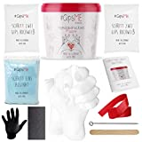 Jadiela 3D Handabdruck Set für Paare Hochwertiges Gipsabdruckset Hände Inklusive Alginat Abformmasse als Jahrestag Geschenk für Ihn und Sie Made in Germany