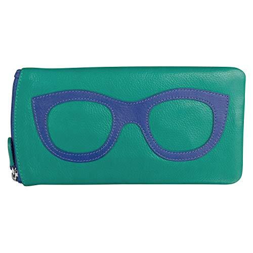 ili New York 6462 Leather Eyeglass Case (Aqua/Cobalt)