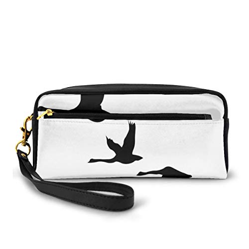 Pencil Case Pen Bag Pouch Stationary,Silhouette of Group of Flying Birds Gulls in The Sky Season Migration Themed Image,Small Makeup Bag Coin Purse