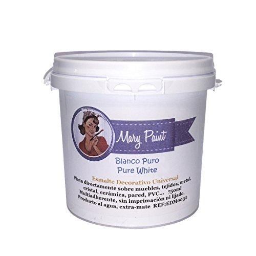 Mary Paint   Pintura para muebles efecto Chalk Paint, Blanco Puro - 750ml