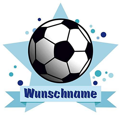 Samunshi® Fussball Aufkleber mit Namen Autoaufkleber Namensaufkleber Kinder in 7 Größen (10x8,8cm Mehrfarbig)