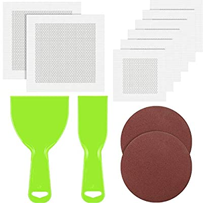 12 Pieces Wall Repair Kit Includes 8 Sheets Wall Repair Patches Aluminum Mesh Patches Self-Adhesive Wall Patch with 2 Pieces Plastic Putty Knife Scrapers and 2 Sizes Sanding Pads Sandpaper for Drywall