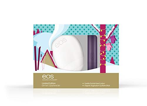 eos Limited Edition Hand-Lip-Set: Vanilla Orchid Hand-Lotion & Organic Sugarplum Lip Balm Stick, Geschenk-Set, Handcreme & Lippenbalsam, Beauty-Produkte für die Weihnachtszeit, 2er Set