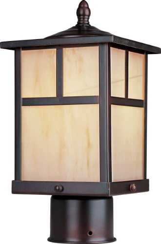 Maxim 4055HOBU Coldwater Mission Style Honey Glass Outdoor Post/Pole Mount, 1-Light 60 Watt, 12