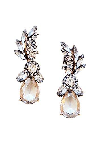 Statement Earrings in Clear Color Chandelier Drop Earrings in Vintage Gold Color