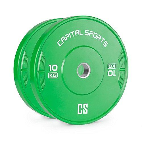 CapitalSports Nipton - Discos de Peso, Discos para Barras, Goma endurecida, Dimensiones de competición