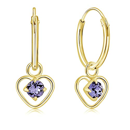 DTPsilver 925 Sterling Silver Yellow Gold Plated SMALL Hoops Earrings & Dangling Heart with 3 mm Crystals from Swarovski Elements - Thickness 1.2 mm - Diameter: 12 mm - Colour : Tanzanite