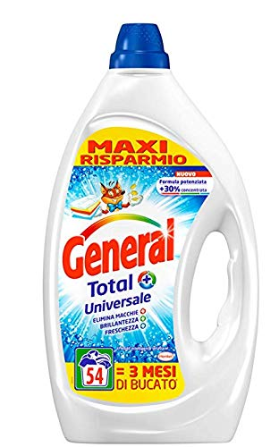 General Total Universale, Detersivo Liquido Lavatrice Formula Potenziata, 2 x 54 Lavaggi