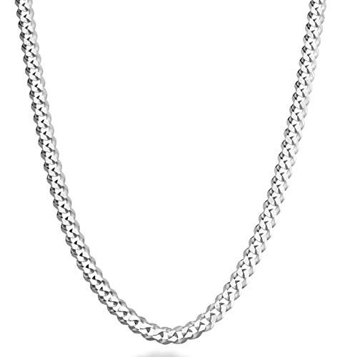 MiaBella Solid 925 Sterling Silver Italian 5mm Diamond Cut Cuban Link Curb Chain Necklace for Women Men, 16, 18, 20, 22, 24, 26, 30 Inch Made in Italy (22)