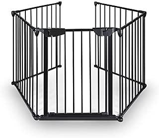 Teekland Baby Gate,Fireplace Gate,Baby Play Yard,Baby Playpen,Fireplace Fence,Baby Fence(Black-1, 5panels)