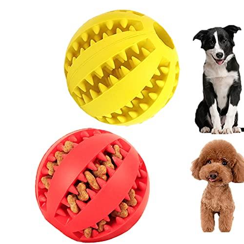 Bolas de goma para perros   2 unidades de bolas de juguete de limpieza de dientes de perro   Alimentador de alimentos para perros juguetes interactivos Juguetes masticables para perros