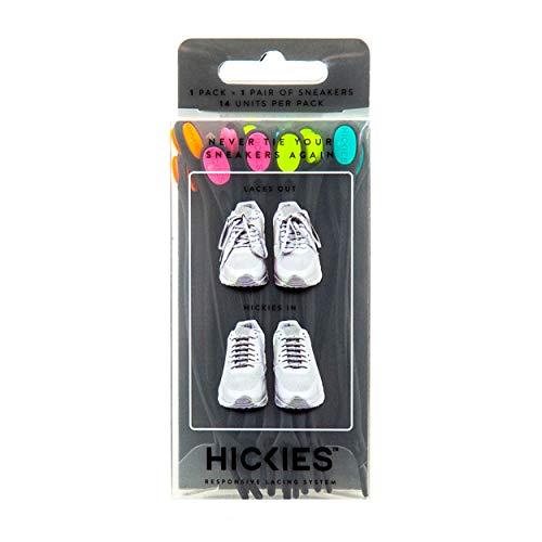 Hickies 1.0 elastisches Schnürsystem, Einheitsgröße, kein Schuhe binden mehr - schwarz/bunt (14 Schnürsenkel)