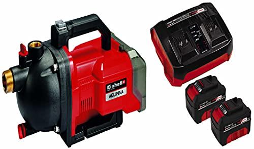 Einhell AQUINNA Power X-Change, Bomba de jardín a batería (2x18V, interruptor ECO de 2 escalones, tornillo de entrada y salida de agua, protección térmica) + Kit con cargador y dos baterías de 4.0Ah