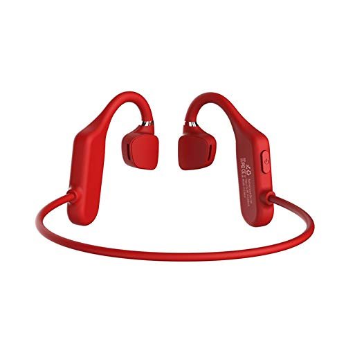 Jiokuy Bone Conduction Headphones with 6D Surround Sound Lightweight and IPX5 Waterproof,Bluetooth 5.0 Open-Ear Wireless Sports Headsets w/Mic for Jogging Running Driving Cycling,Red