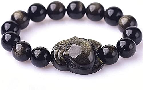 Pulseras con cuentas de piedras preciosas premium Tallado Little Fox Accesorios Feng Shui Pulsera Natural Gold Redondo Beads Atraer Peach Blossom Buena suerte Dinero para hombres / Mujeres, Brazaletes